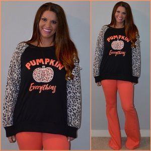 Pumpkin Everything Leopard Sweatshirt  Small-2X